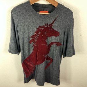Clover Canyon XS Red Velvet Unicorn Gray T Shirt